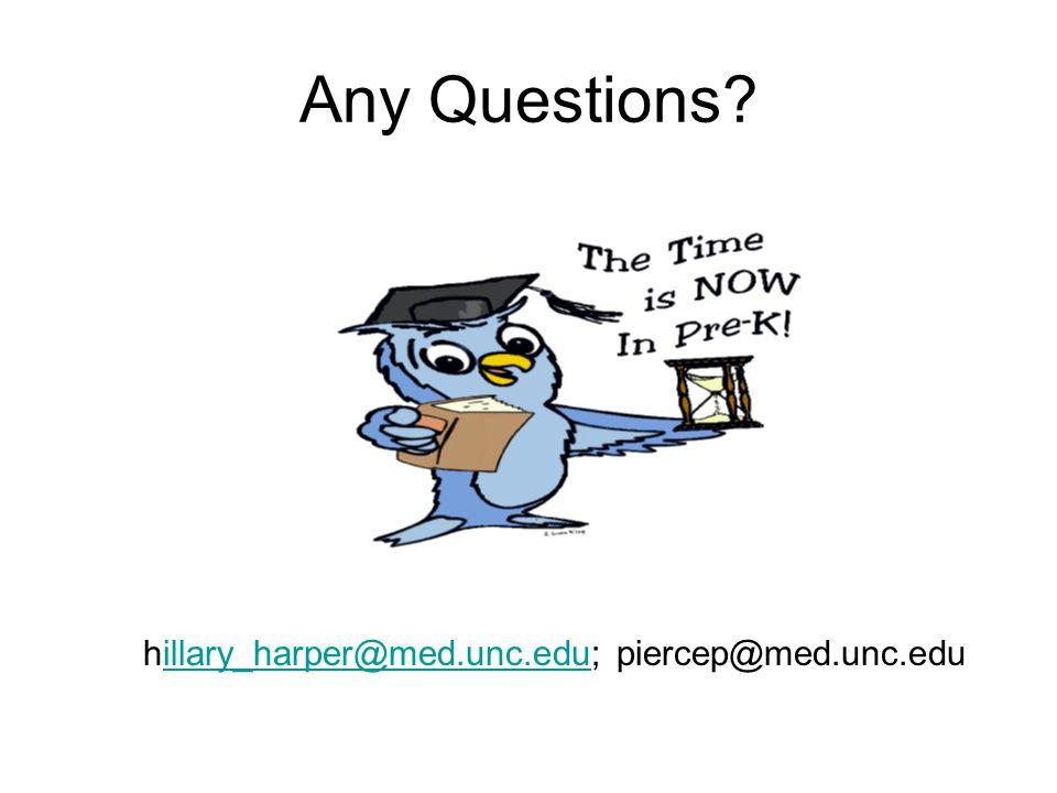 Any Questions? hillary_harper@med.unc.edu; piercep@med.unc.eduillary_harper@med.unc.edu