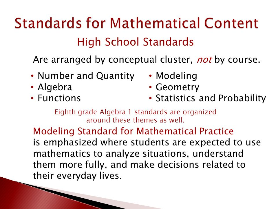 Are arranged by conceptual cluster, not by course. High School Standards Number and Quantity Algebra Functions Modeling Geometry Statistics and Probab