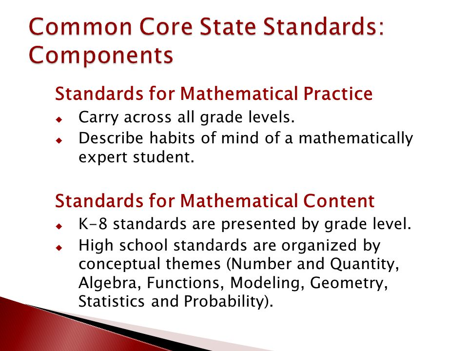 Standards for Mathematical Practice  Carry across all grade levels.  Describe habits of mind of a mathematically expert student. Standards for Mathe