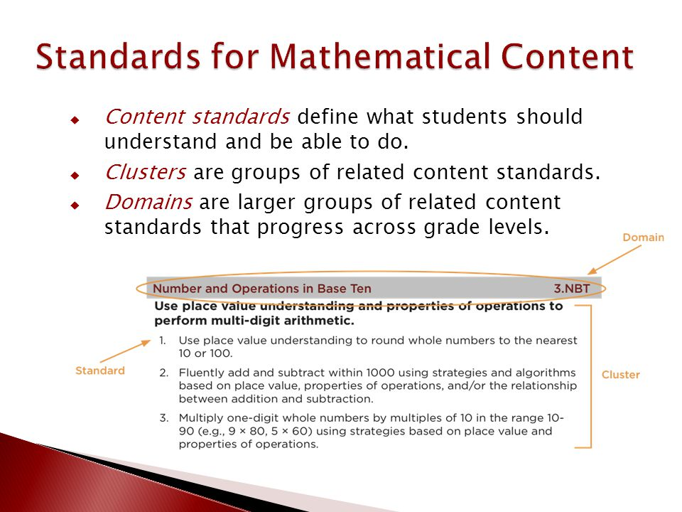  Content standards define what students should understand and be able to do.  Clusters are groups of related content standards.  Domains are larger