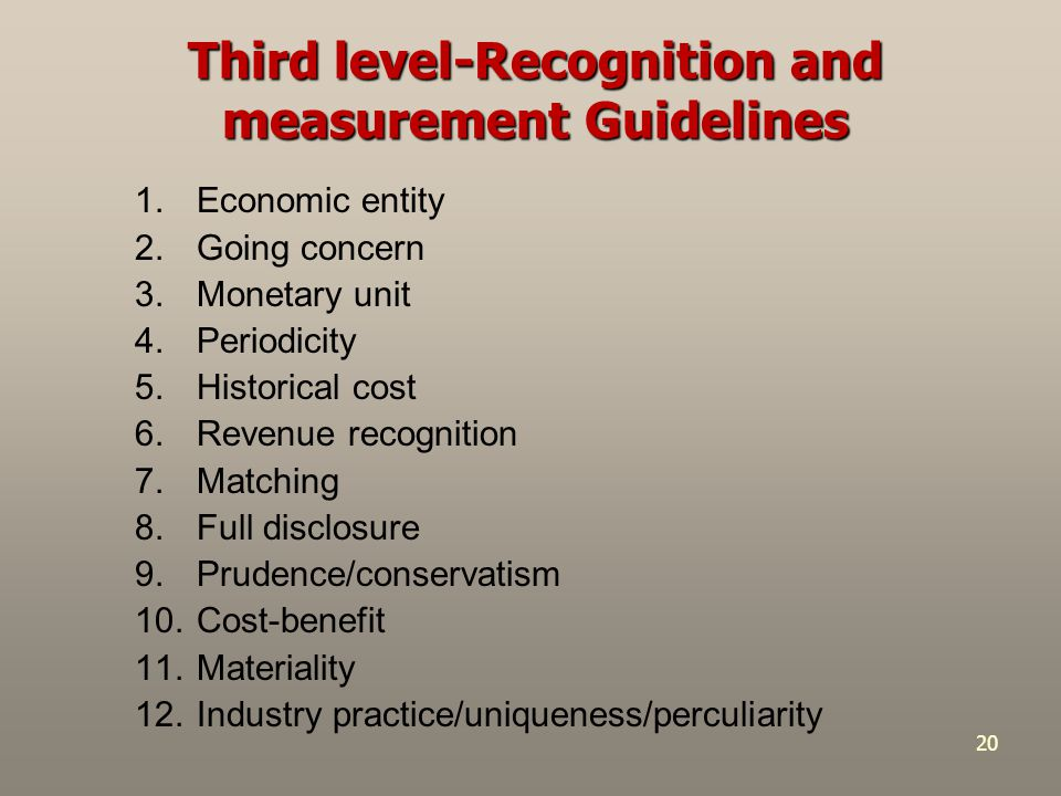 20 Third level-Recognition and measurement Guidelines 1.Economic entity 2.Going concern 3.Monetary unit 4.Periodicity 5.Historical cost 6.Revenue reco