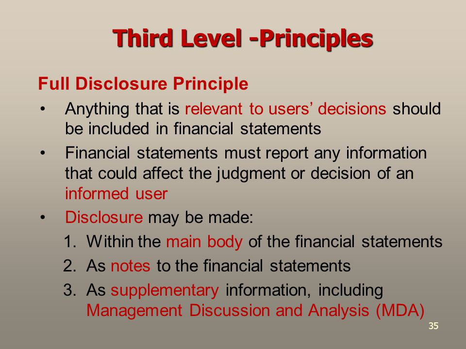 35 Full Disclosure Principle Anything that is relevant to users' decisions should be included in financial statements Financial statements must report
