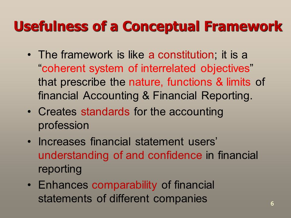 """6 Usefulness of a Conceptual Framework The framework is like a constitution; it is a """"coherent system of interrelated objectives"""" that prescribe the n"""