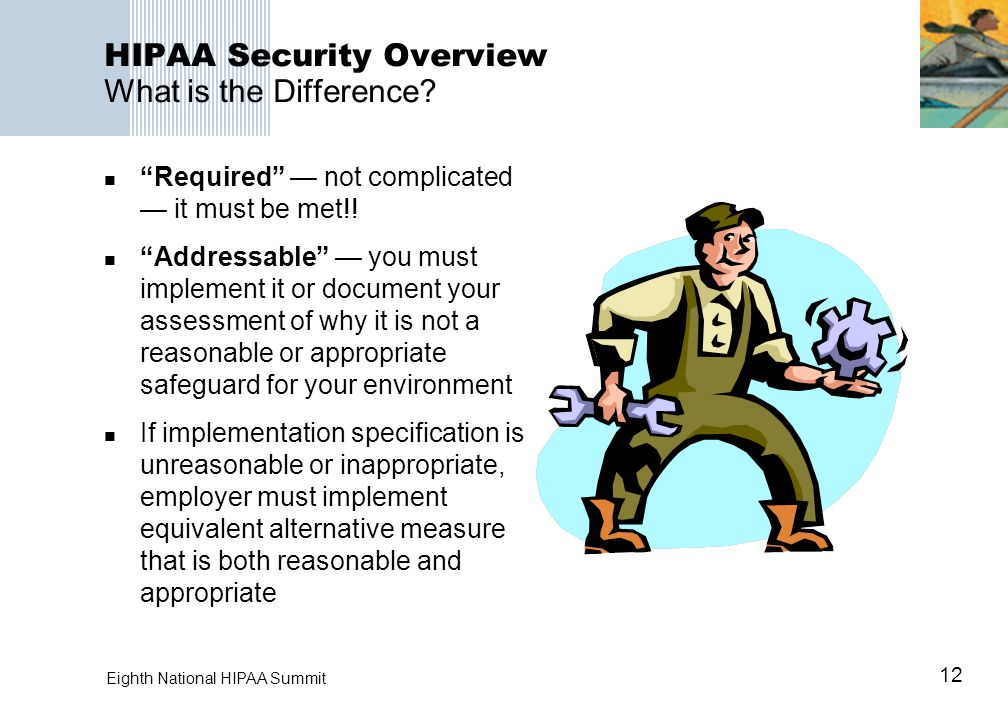 12 Eighth National HIPAA Summit HIPAA Security Overview What is the Difference.