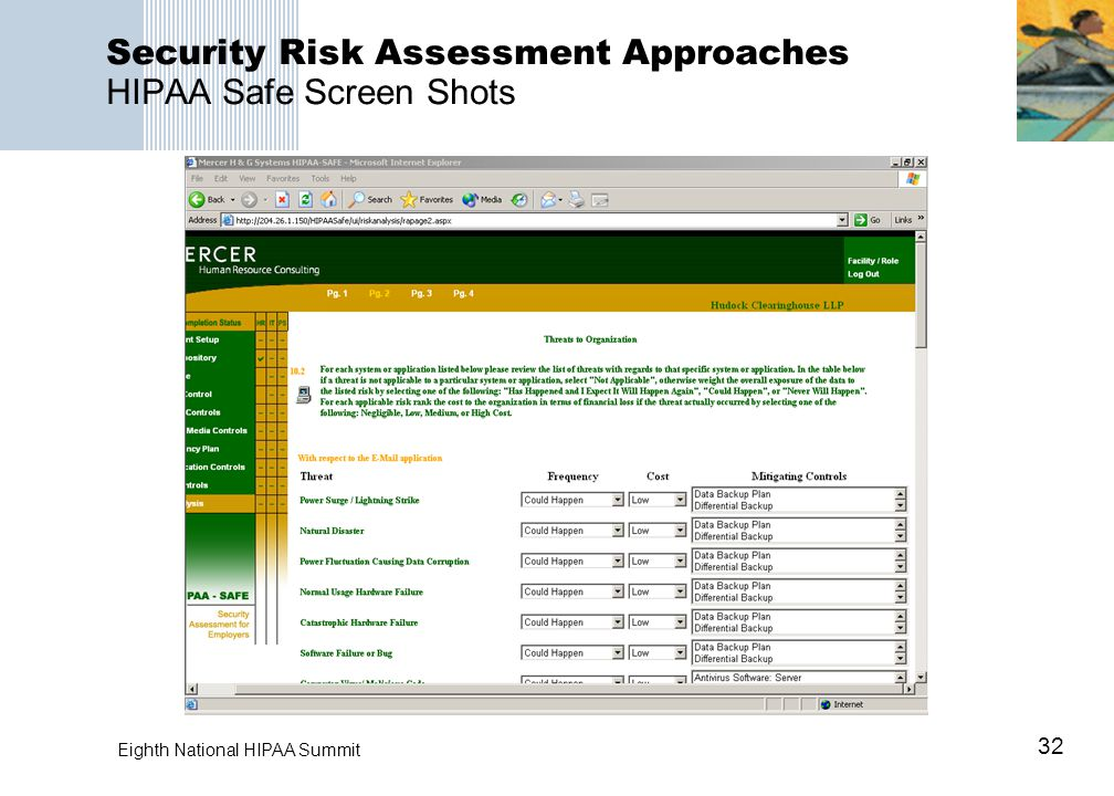 32 Eighth National HIPAA Summit Security Risk Assessment Approaches HIPAA Safe Screen Shots