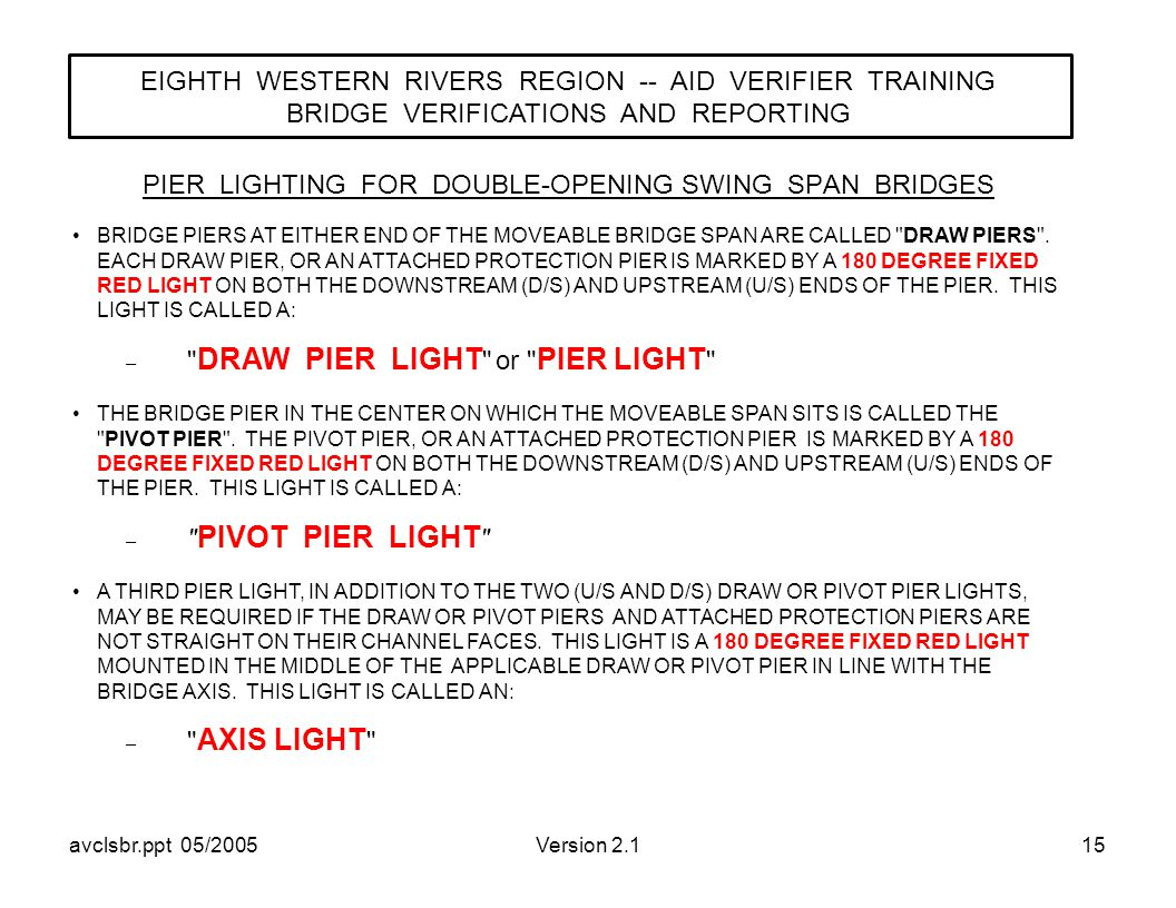 avclsbr.ppt 05/2005Version 2.115 PIER LIGHTING FOR DOUBLE-OPENING SWING SPAN BRIDGES EIGHTH WESTERN RIVERS REGION -- AID VERIFIER TRAINING BRIDGE VERIFICATIONS AND REPORTING BRIDGE PIERS AT EITHER END OF THE MOVEABLE BRIDGE SPAN ARE CALLED DRAW PIERS .