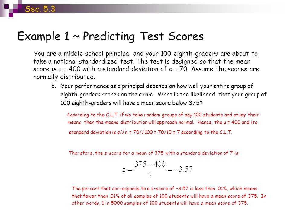 Example 1 ~ Predicting Test Scores Sec.