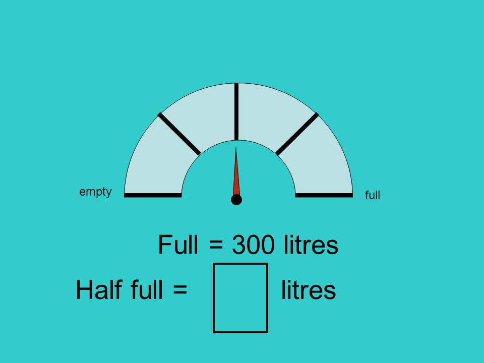 empty full Full = 300 litres litres Half full =