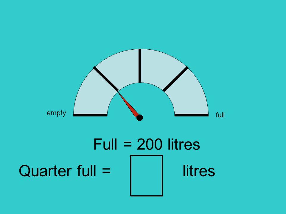 empty full Full = 200 litres litresQuarter full =