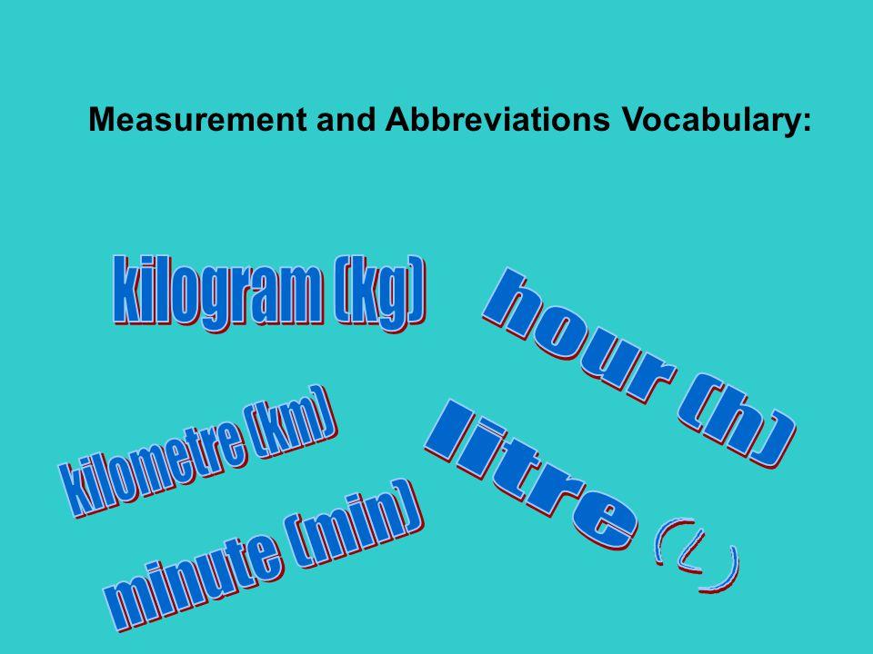 Measurement and Abbreviations Vocabulary: