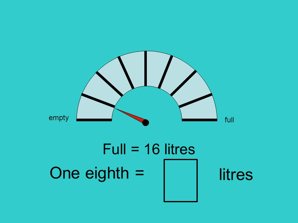 empty full Full = 16 litres One eighth = litres