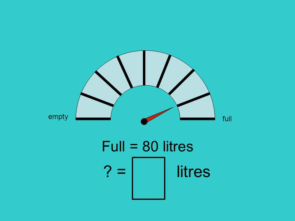empty full Full = 80 litres = litres