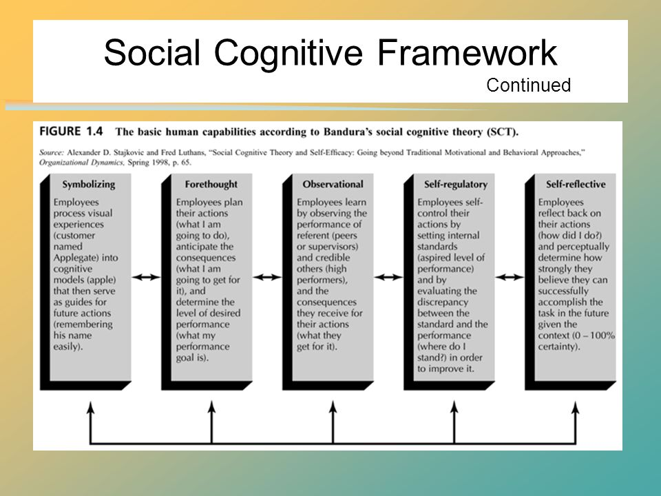 Social Cognitive Framework Continued