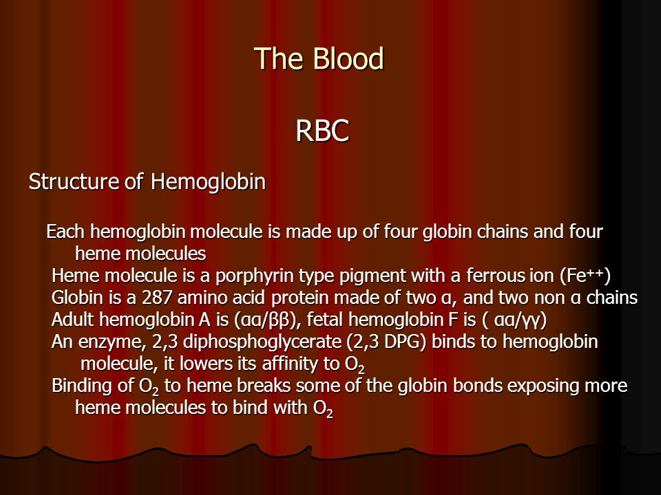 Structure of hemoglobin Marieb and Hoehn Human Anatomy & Physiology seventh edition Pearson Benjamin Cummings Each heme molecule combines with one oxygen atom