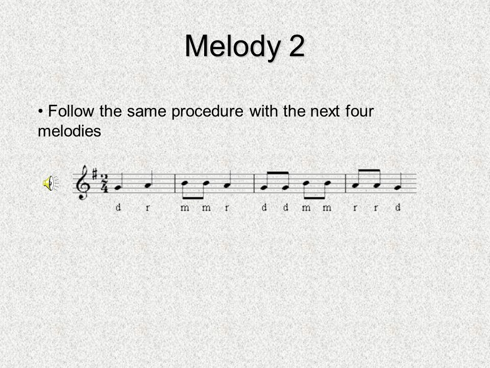 Melody 2 Follow the same procedure with the next four melodies