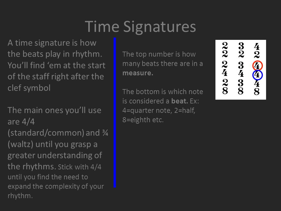 Time Signatures A time signature is how the beats play in rhythm.