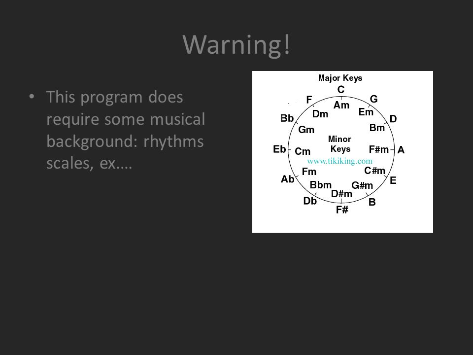 Warning! This program does require some musical background: rhythms scales, ex.…