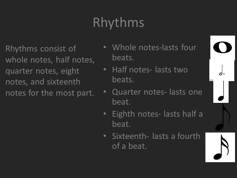 Rhythms Whole notes-lasts four beats. Half notes- lasts two beats.
