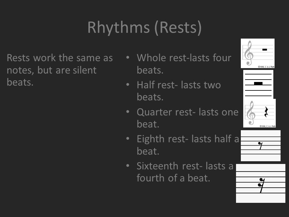 Rhythms (Rests) Whole rest-lasts four beats. Half rest- lasts two beats.
