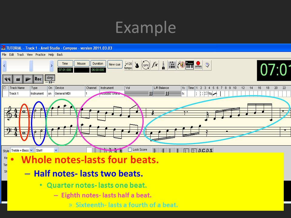 Example Whole notes-lasts four beats. – Half notes- lasts two beats.