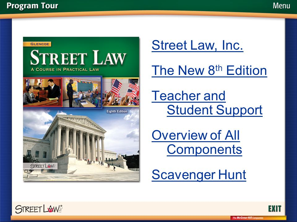 Menu Street Law, Inc. The New 8 th Edition Teacher and Student Support Overview of All Components Scavenger Hunt
