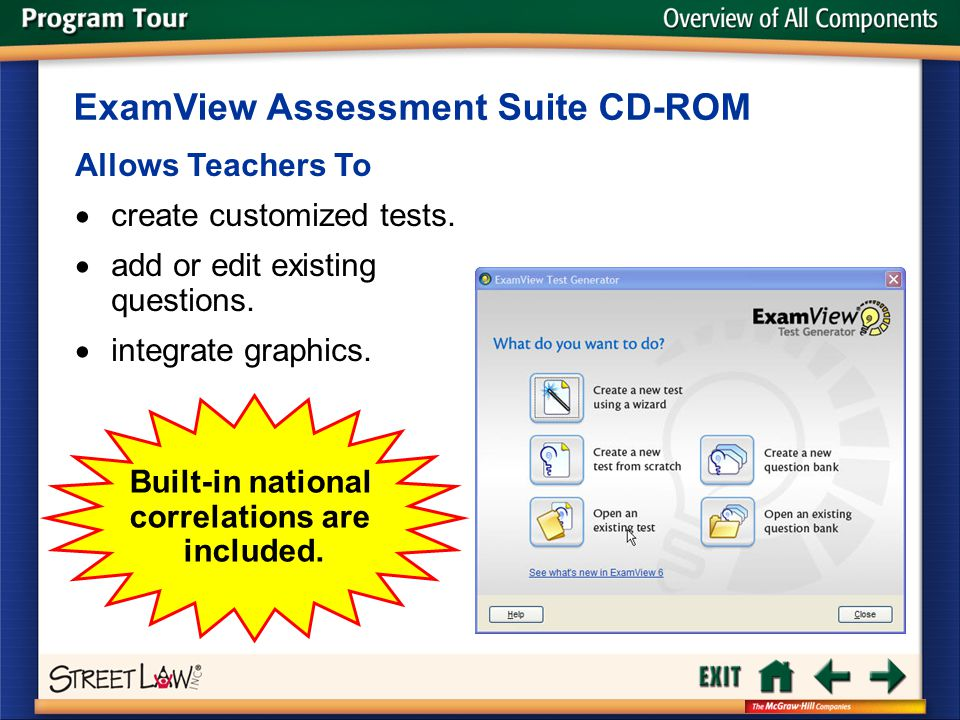 Overview of All Components Allows Teachers To  create customized tests.  add or edit existing questions.  integrate graphics. ExamView Assessment S