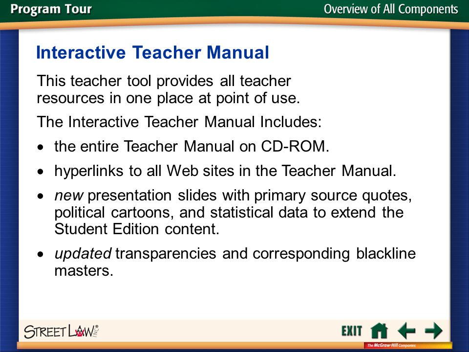 Overview of All Components This teacher tool provides all teacher resources in one place at point of use. Interactive Teacher Manual The Interactive T