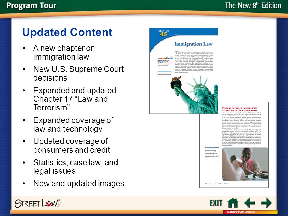 "The New 8 th Edition A new chapter on immigration law New U.S. Supreme Court decisions Expanded and updated Chapter 17 ""Law and Terrorism"" Expanded co"