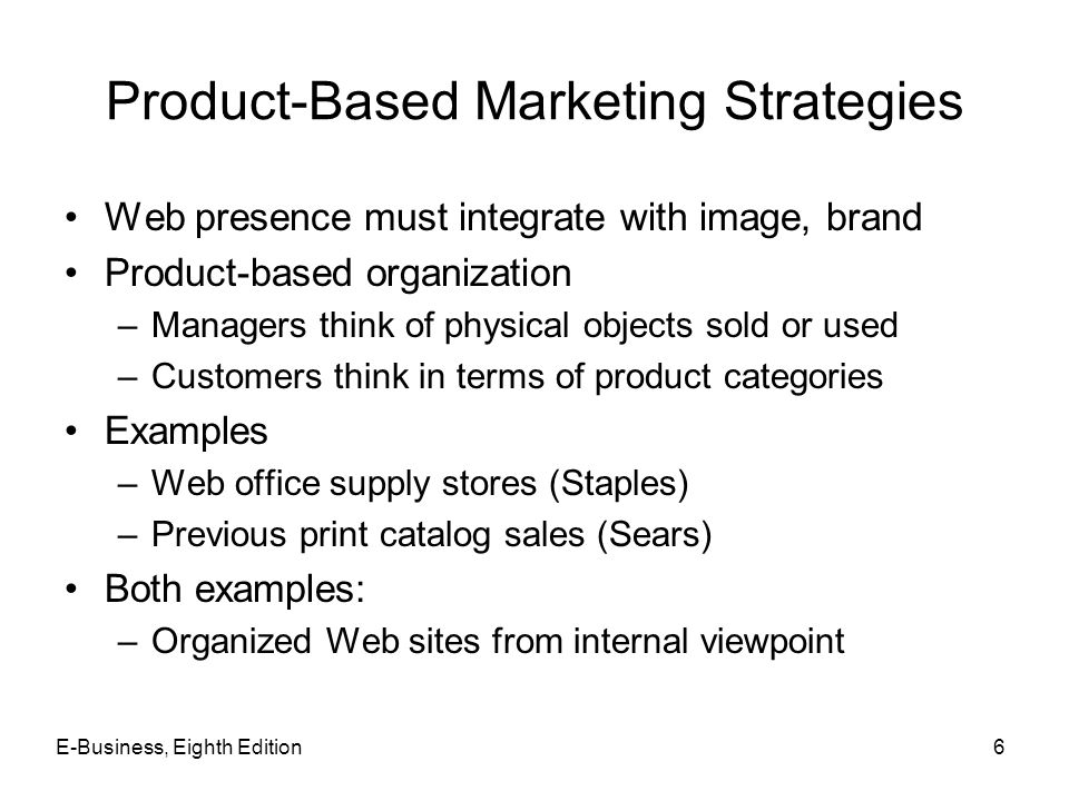 Product-Based Marketing Strategies Web presence must integrate with image, brand Product-based organization –Managers think of physical objects sold o