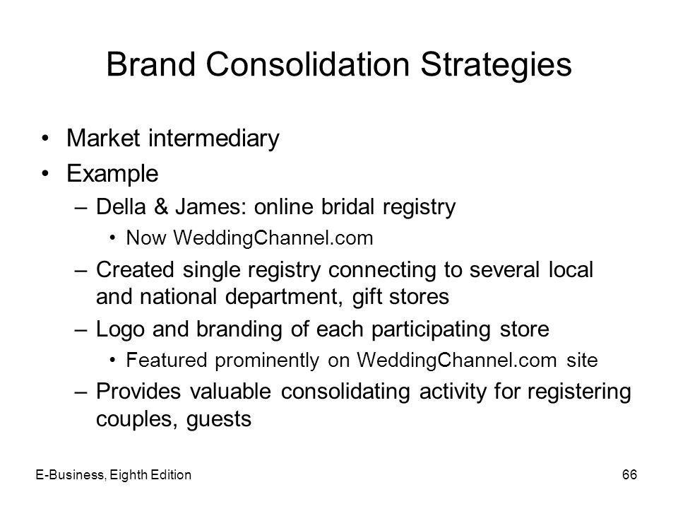 Brand Consolidation Strategies Market intermediary Example –Della & James: online bridal registry Now WeddingChannel.com –Created single registry conn