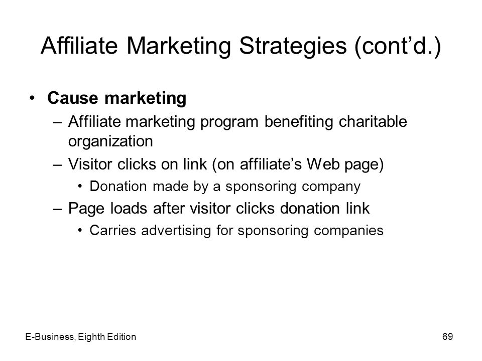 Affiliate Marketing Strategies (cont'd.) Cause marketing –Affiliate marketing program benefiting charitable organization –Visitor clicks on link (on a
