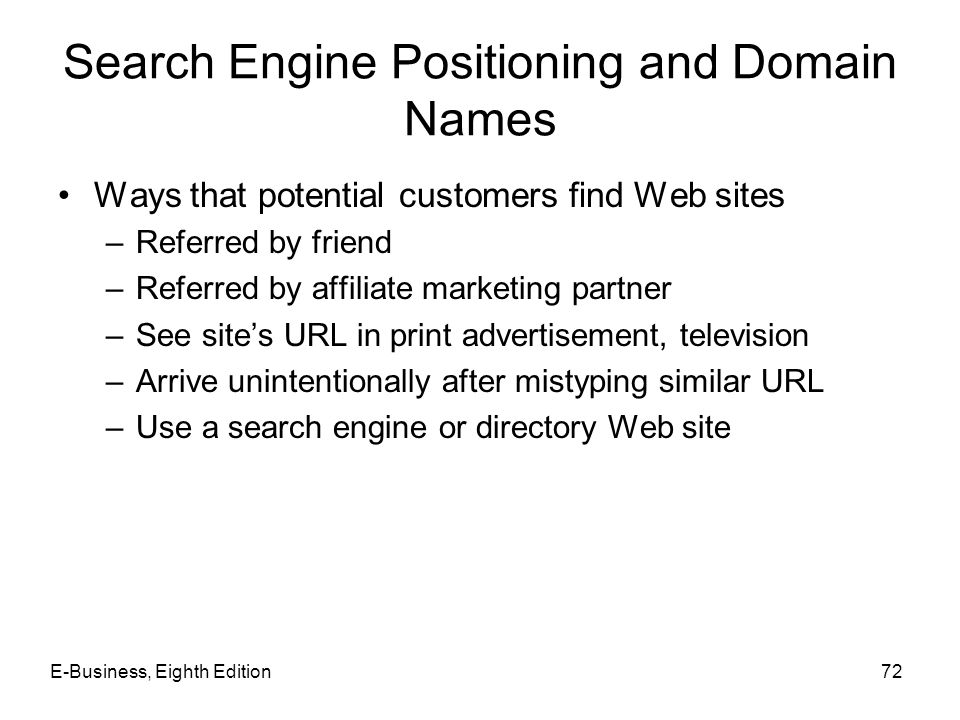 Search Engine Positioning and Domain Names Ways that potential customers find Web sites –Referred by friend –Referred by affiliate marketing partner –