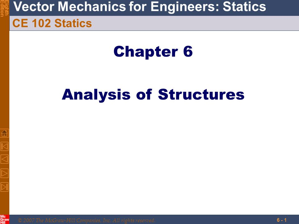 © 2007 The McGraw-Hill Companies, Inc. All rights reserved. Vector Mechanics for Engineers: Statics EighthEdition 6 - 1 CE 102 Statics Chapter 6 Analy