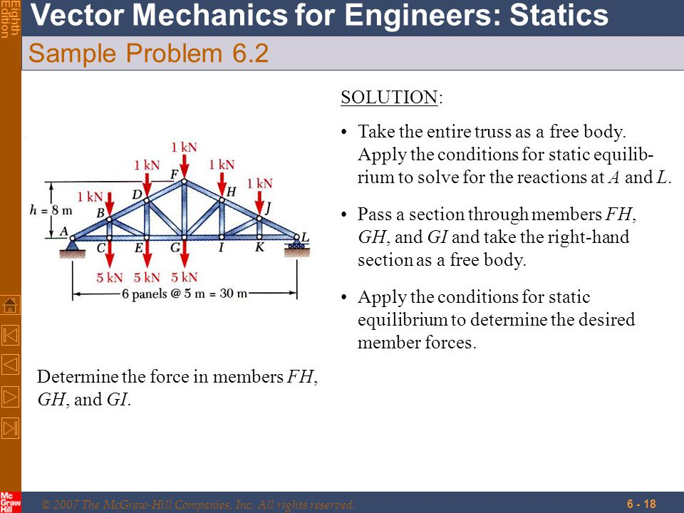 © 2007 The McGraw-Hill Companies, Inc. All rights reserved. Vector Mechanics for Engineers: Statics EighthEdition 6 - 18 Sample Problem 6.2 Determine