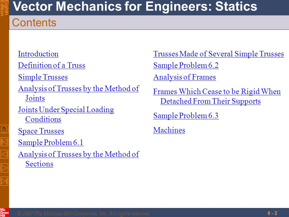 © 2007 The McGraw-Hill Companies, Inc. All rights reserved. Vector Mechanics for Engineers: Statics EighthEdition 6 - 2 Contents Introduction Definiti