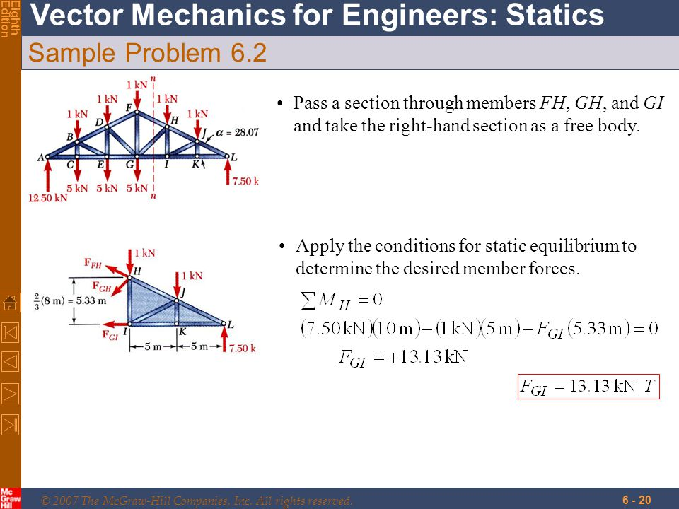 © 2007 The McGraw-Hill Companies, Inc. All rights reserved. Vector Mechanics for Engineers: Statics EighthEdition 6 - 20 Sample Problem 6.2 Pass a sec