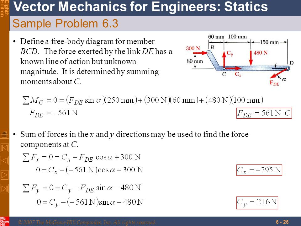 © 2007 The McGraw-Hill Companies, Inc. All rights reserved. Vector Mechanics for Engineers: Statics EighthEdition 6 - 26 Sample Problem 6.3 Define a f