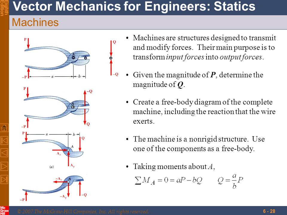 © 2007 The McGraw-Hill Companies, Inc. All rights reserved. Vector Mechanics for Engineers: Statics EighthEdition 6 - 28 Machines Machines are structu