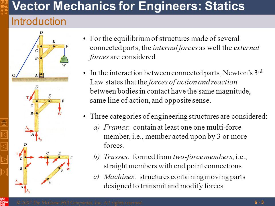 © 2007 The McGraw-Hill Companies, Inc. All rights reserved. Vector Mechanics for Engineers: Statics EighthEdition 6 - 3 Introduction For the equilibri
