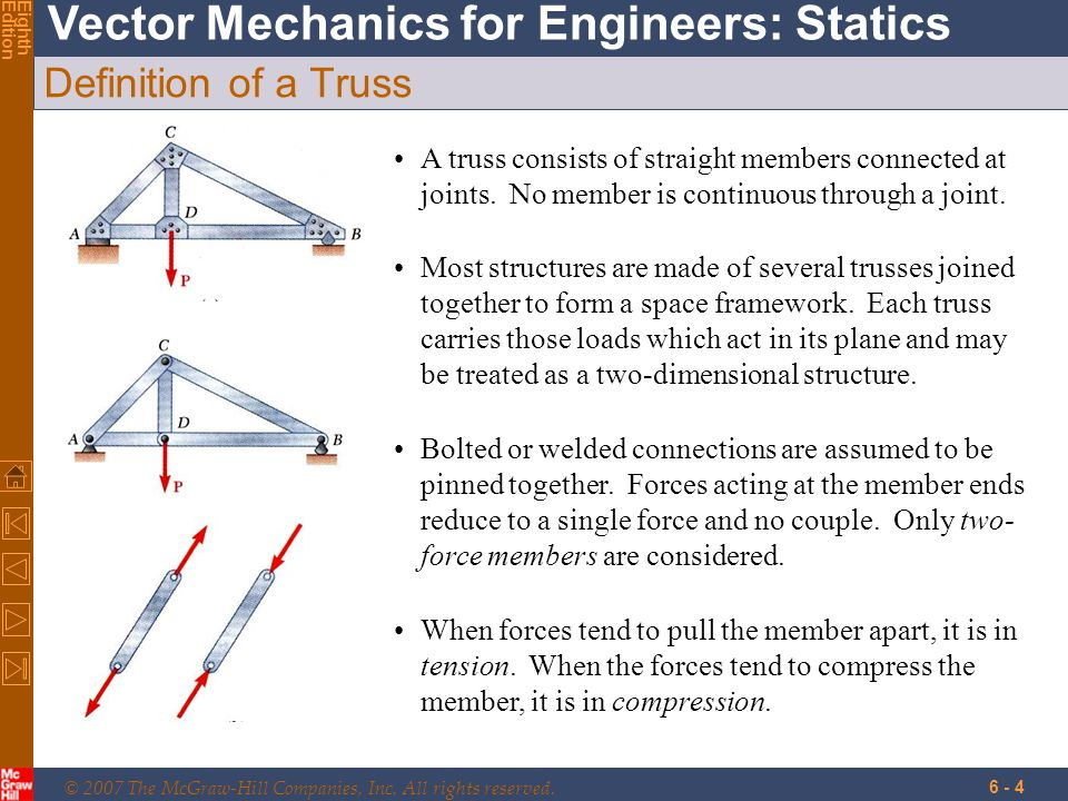 © 2007 The McGraw-Hill Companies, Inc. All rights reserved. Vector Mechanics for Engineers: Statics EighthEdition 6 - 4 Definition of a Truss A truss