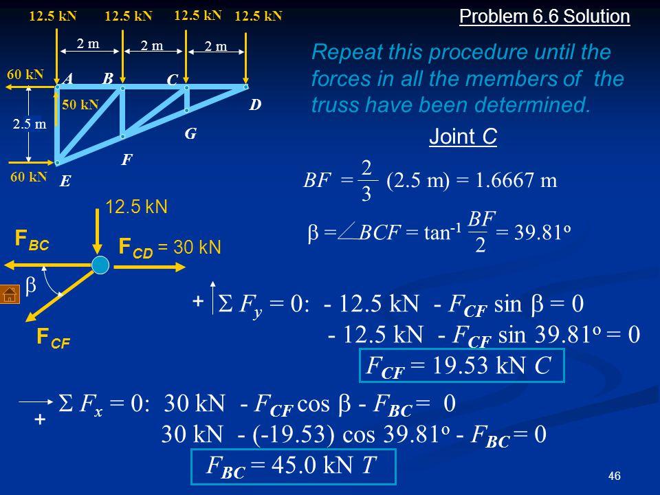 46 Problem 6.6 Solution F BC F CF  F y = 0: - 12.5 kN - F CF sin  = 0 - 12.5 kN - F CF sin  39.81 o  = 0 F CF = 19.53 kN C Joint C F CD = 30 kN