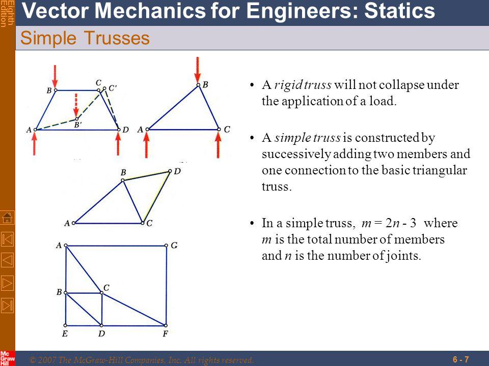 48 Problem 6.6 Solution F BE  F y = 0: -12.5 kN -6.25 kN - F BE sin 51.34 o = 0 F BE = -24.0 kN Joint B  A B C D F G 2 m 12.5 kN 2 m 12.5 kN 2.5 m E 60 kN 50 kN + + F AB F BC = 45.0 kN F BF = 6.25kN 12.5 kN tan  = ;  = 51.34 o 2.5 m 2 m  F x = 0: 45.0 kN - F AB + (24.0 kN) cos 51.34 o = 0 F AB = 60.0 kN F BE = 24.0 kN C F AB = 60.0 kN T