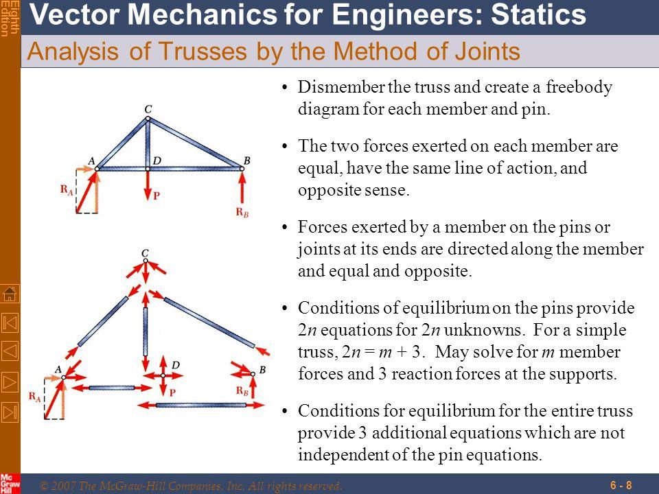 39 Problem 6.5 Solution C 6 in 50 lb CxCx CyCy BxBx ByBy 6 in Free-Body: Member BCE C C 90 lb 10 lb C = 90.6 lb 6.3 o  F x = 0: B x - 90 lb = 0 B x = 90 lb  F y = 0: B y + 10 lb - 50 lb = 0 B y = 40 lb + + B B 90 lb 40 lb B = 98.5 lb 24.0 o