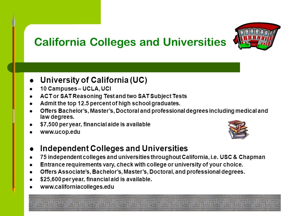 California Colleges and Universities California Community Colleges (CCC) 110 Campuses – Santa Ana College, Orange Coast College Must be 18 years of age or be a high school graduate to attend.