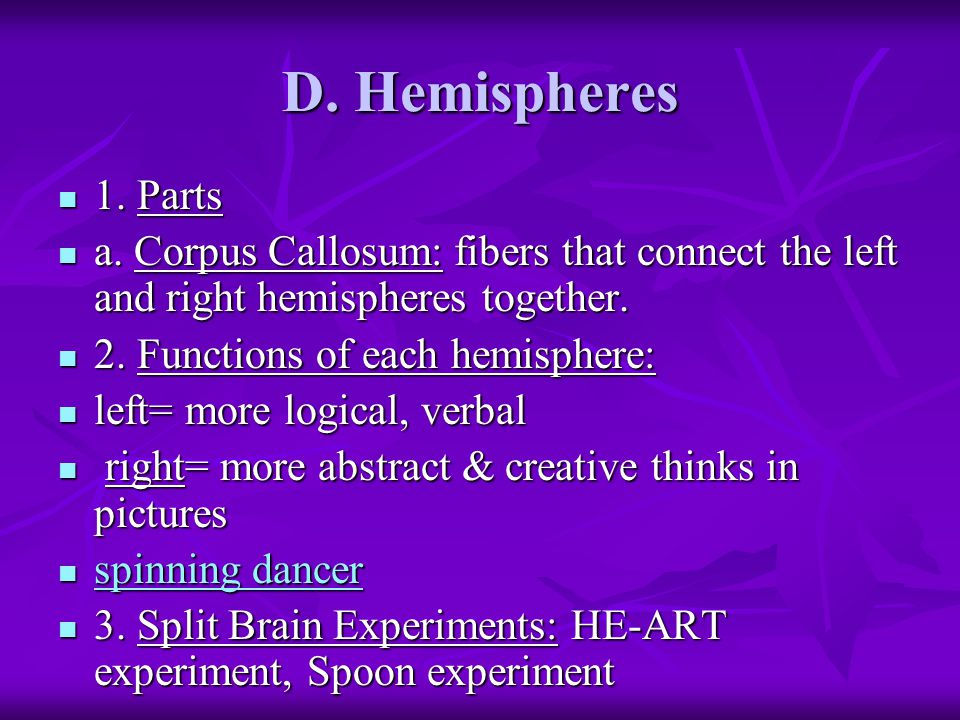 D. Hemispheres 1. Parts 1. Parts a.