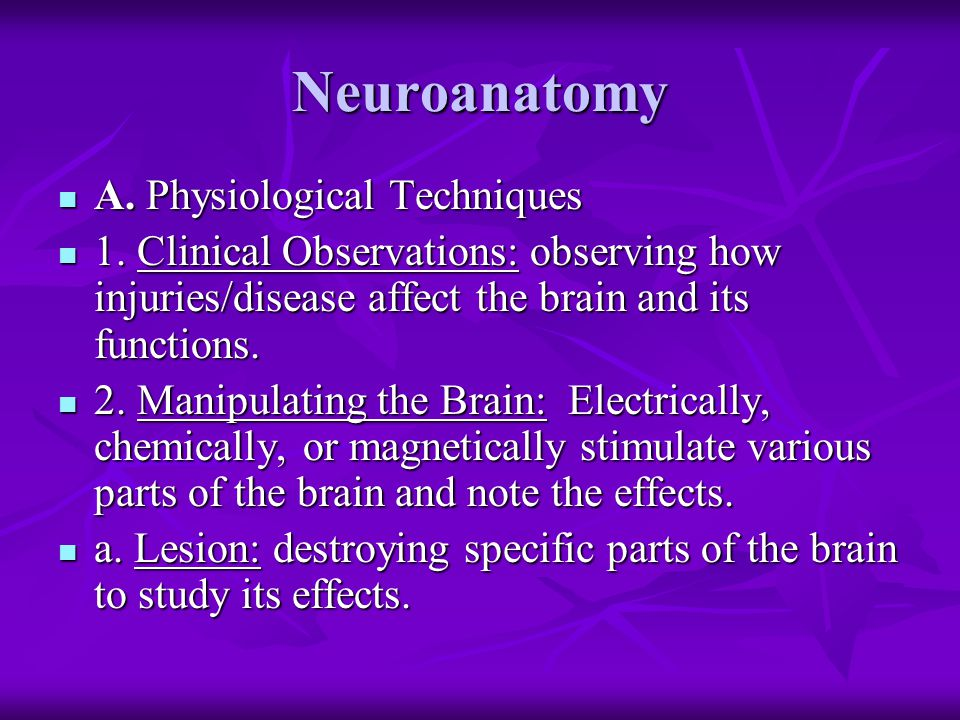 Neuroanatomy A. Physiological Techniques A. Physiological Techniques 1. Clinical Observations: observing how injuries/disease affect the brain and its