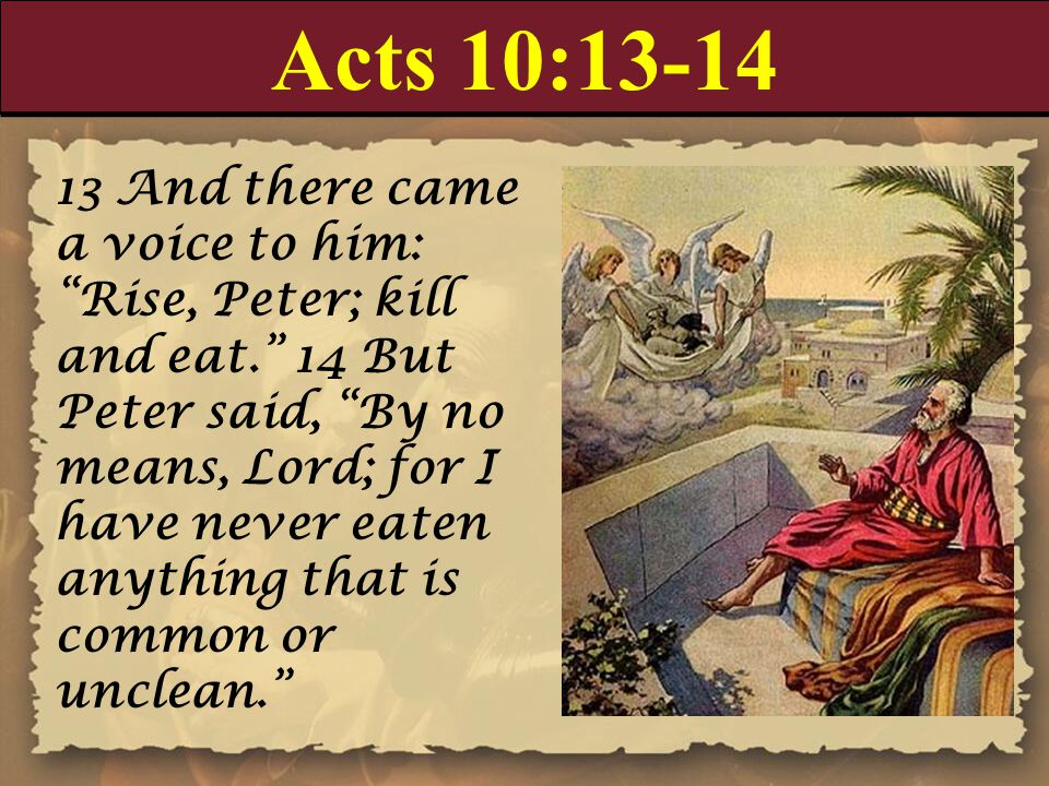 "Acts 10:13-14 13 And there came a voice to him: ""Rise, Peter; kill and eat."" 14 But Peter said, ""By no means, Lord; for I have never eaten anything th"