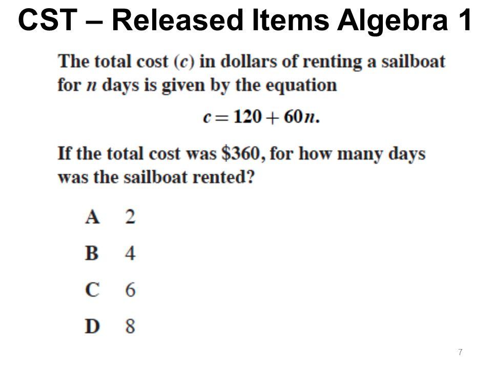 CST – Released Items Algebra 1 7