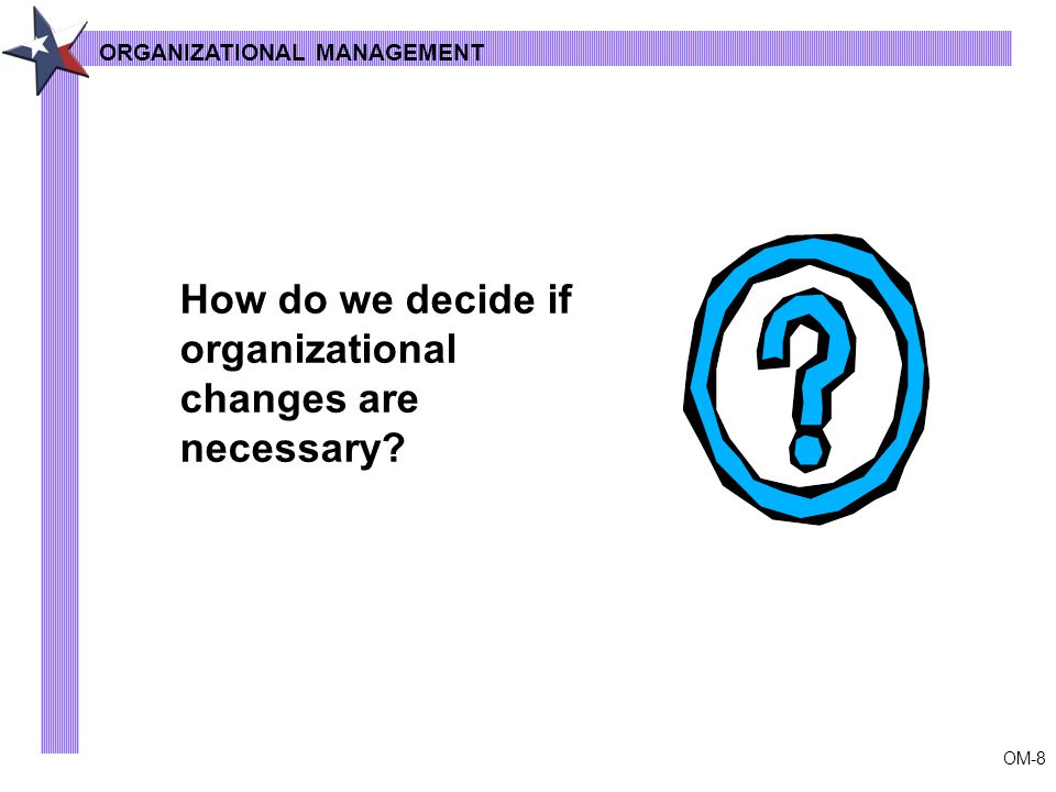OM-8 How do we decide if organizational changes are necessary ORGANIZATIONAL MANAGEMENT
