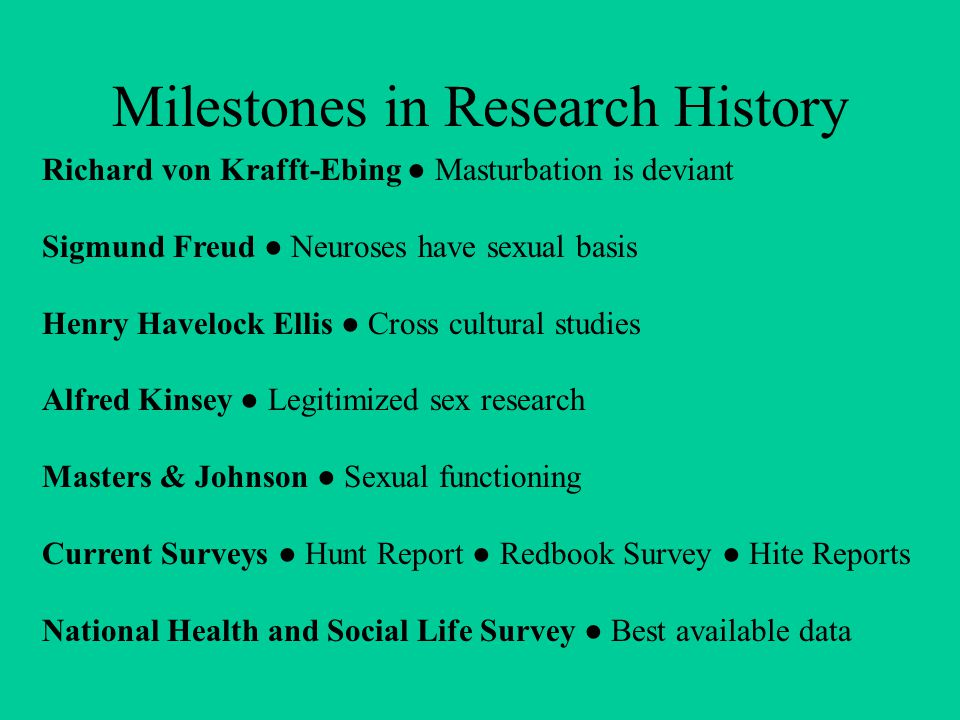 Milestones in Research History Richard von Krafft-Ebing ● Masturbation is deviant Sigmund Freud ● Neuroses have sexual basis Henry Havelock Ellis ● Cross cultural studies Alfred Kinsey ● Legitimized sex research Masters & Johnson ● Sexual functioning Current Surveys ● Hunt Report ● Redbook Survey ● Hite Reports National Health and Social Life Survey ● Best available data